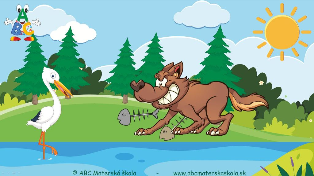 bájky, video bájky, bájky s ponaučením, bocian a vlk